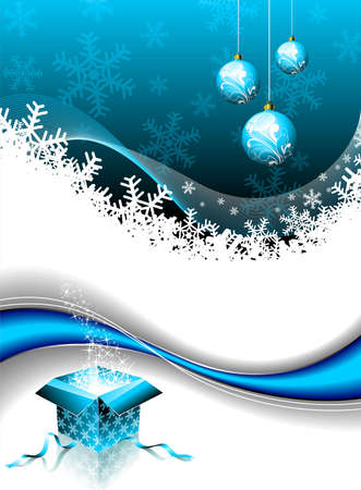 christmas illustration with magic gift box and glass ball on blue background Illustration