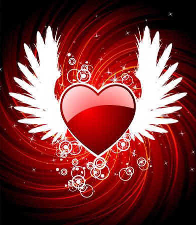 Valentijnsdag illustratie met hart en vleugels.  Vector Illustratie