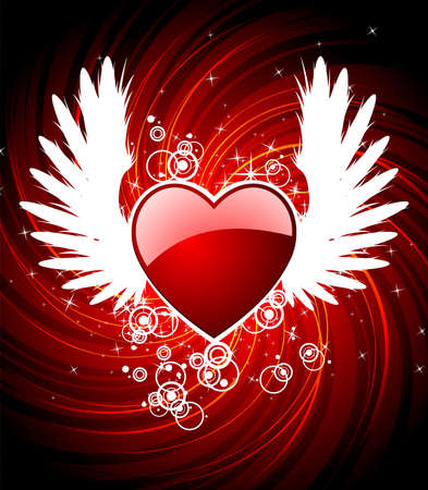 happyness: Valentines day illustration with heart and wings.