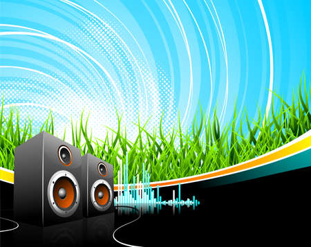 Music illustration with speakers on a field background.