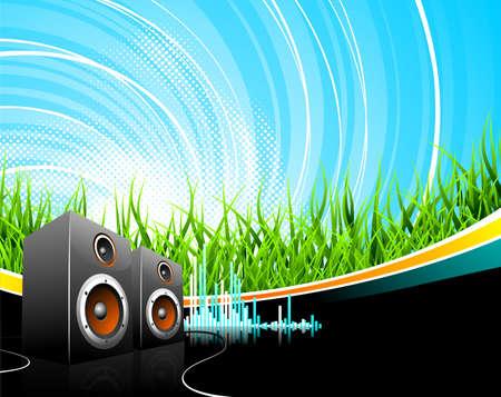 Music illustration with speakers on a field background. Zdjęcie Seryjne - 7473466
