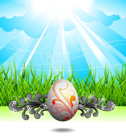 Easter illustration with painted egg and floral motives on spring background. Vector