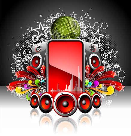 speaker box: Ilustraci�n de un tema musical con altavoces y bola de disco