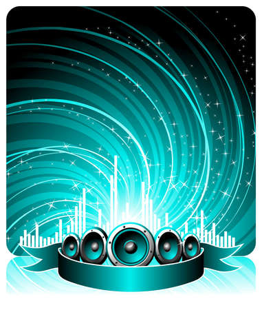 illustration for a musical theme with speakers and disco ball