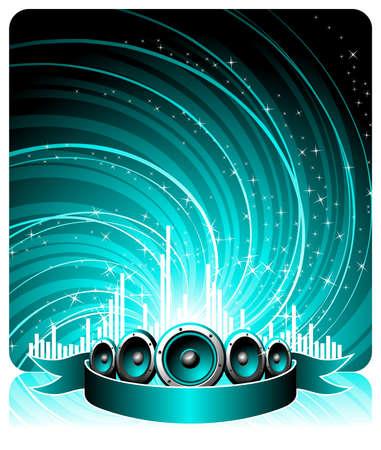 illustrazione di un tema musica con altoparlanti e discoteca palla
