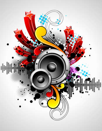 illustration for a musical theme with speakers and abstract design elements Vector