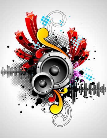 speaker box: Ilustraci�n de un tema musical con altavoces y elementos de dise�o abstracto
