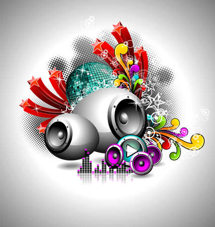 illustration for a musical theme with speakers and disco ball Vector