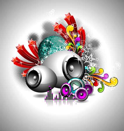retro disco: Ilustraci�n de un tema musical con altavoces y bola de disco