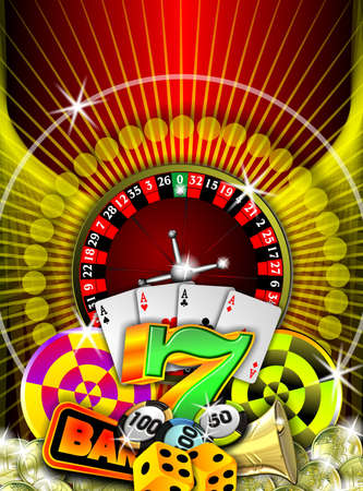 casino illustration with roulette and other game elements Stock Photo