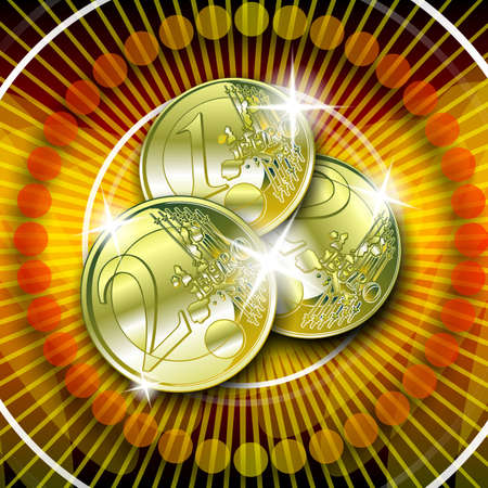 toke: casino graphic with sparkling gold euro on red background