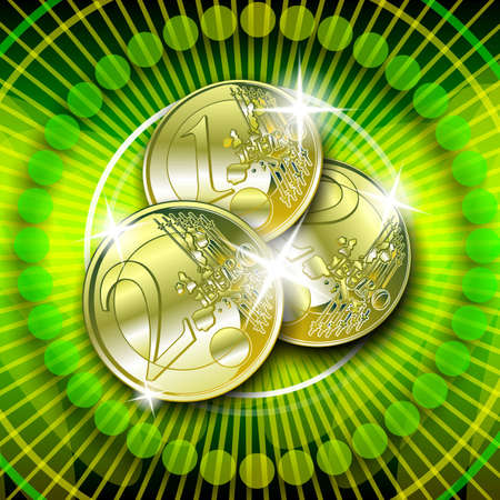 toke: casino graphic with sparkling gold euro on green background