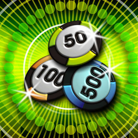 tokens: casino illustration with tokens on green background Stock Photo