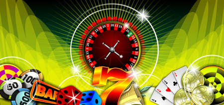 gambling illustration with casino elements on green background Stock Illustration - 7896682