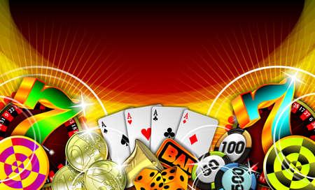 ruleta de casino: Ilustraci�n con elementos de casino sobre fondo rojo de juegos de azar  Foto de archivo