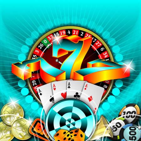 gambling illustration with casino elements on blue background illustration