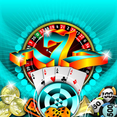 jackpot: gambling illustration with casino elements on blue background