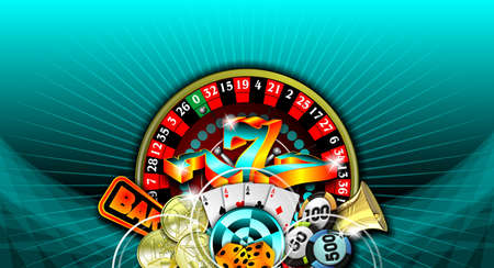 gambling illustration with casino elements on blue background Stock Illustration - 7896675