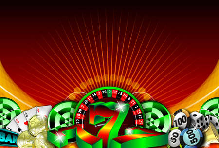 gambling illustration with casino elements Stock Illustration - 7896672
