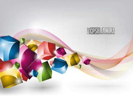 graphics: sinuoso fondo de dise�o, con cubos de color.  Vectores
