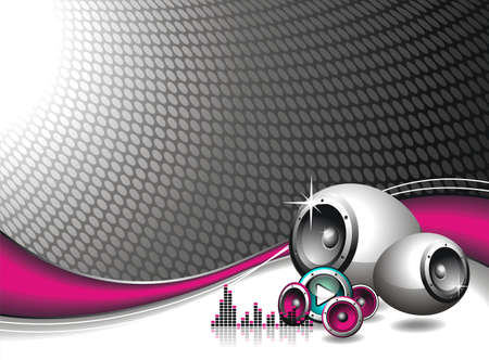 illustration for musical theme with speakers Ilustracja