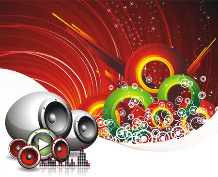 illustration for musical theme with speakers Vector