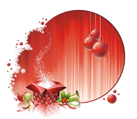 Christmas illustration with gift box on red background