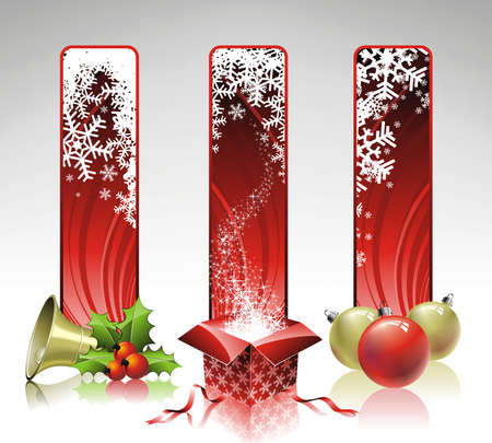 newyear card: Christmas illustration with three vertical banner. Illustration