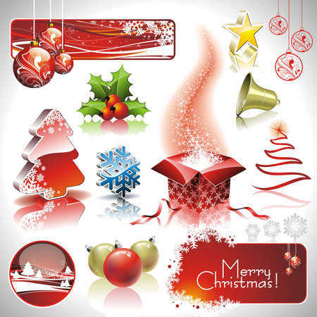newyear card: Holiday collection for a Christmas theme with 3d elements.