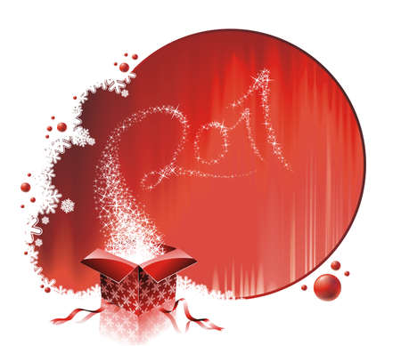 Happy New Year 2011 design with magic gift box on a red background. Vector