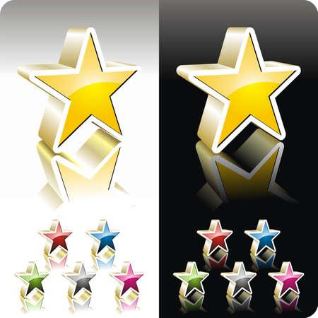 Shiny  color star button set Vector