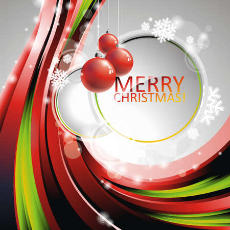 Christmas illustration with red glass balls on text space Vector