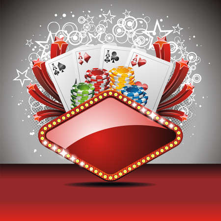 jackpot: Vector gambling illustration with casino elements Illustration