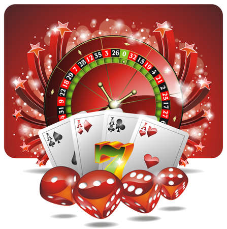red dice: Vector gambling illustration with casino elements Illustration