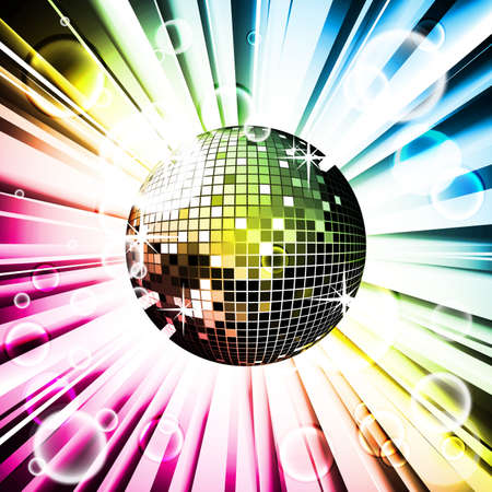 rainbow abstract: Abstract vector shiny background with disco ball. Illustration