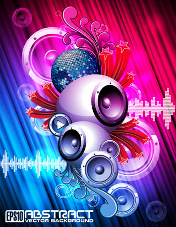 Abstract vector shiny background with speaker and design elements. Vector