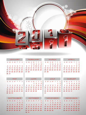 Vector calendar design 2011 on red background. Vector