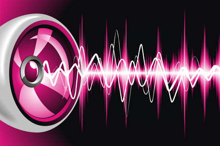 sound: Abstract shiny background with speaker and sound waves.