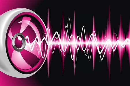 geluid: Abstracte glanzende achtergrond met spreker en geluidsgolven.