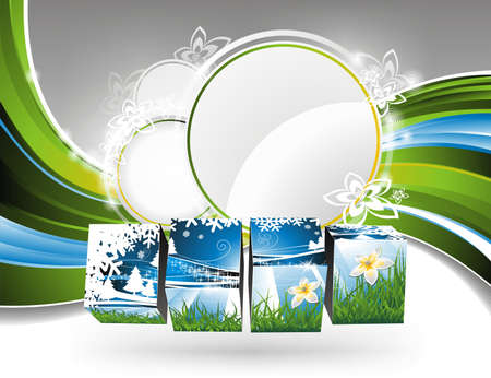background on a spring theme with nature cubes. Stock Vector - 8889050