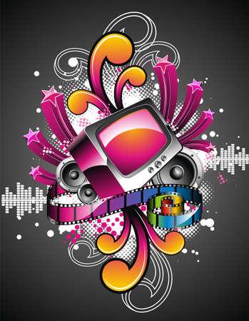 fiestas electronicas: Ilustraci�n vectorial en un tema de medios de comunicaci�n y de la pel�cula con retro tv sobre dise�o de fondo abstracto.