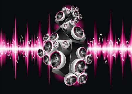 fiestas electronicas: Ilustraci�n vectorial en un tema musical con oradores sobre fondo de onda abstracta. Vectores