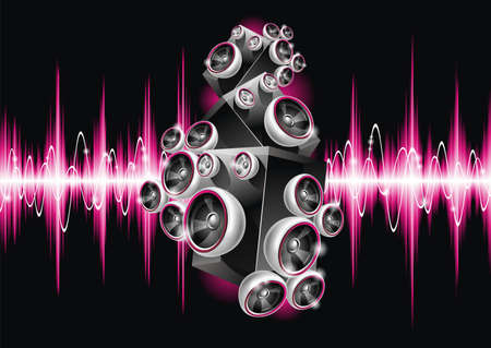 Vector illustration on a musical theme with speakers on abstract wave background.