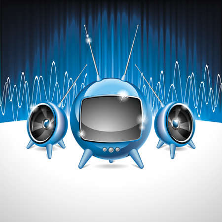 audio electronics: Vector illustration on a media and movie  theme with futuristic tv on abstract blue background.