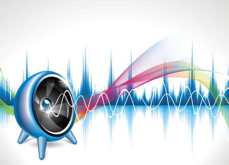 fiestas electronicas: Ilustraci�n vectorial en un tema musical con orador de fondo de onda abstracta.