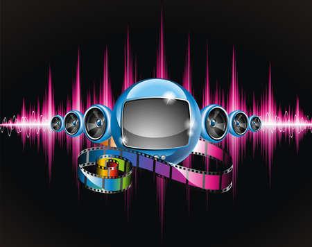 fiestas electronicas: Ilustraci�n vectorial sobre un tema de medios de comunicaci�n y de la pel�cula con tv futurista sobre fondo brillante abstracta.