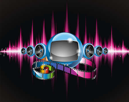 holiday movies: Vector illustration on a media and movie  theme with futuristic tv on abstract shiny background.
