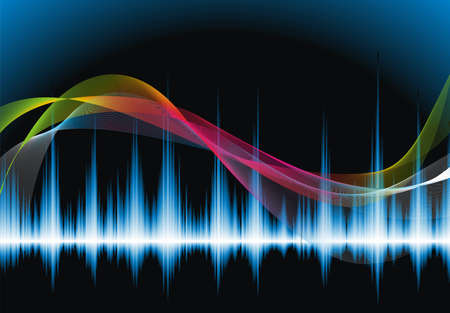 Abstract vector shiny background design with sound waves.