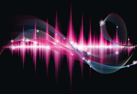 tecnology: Abstract vector shiny background design with sound waves.