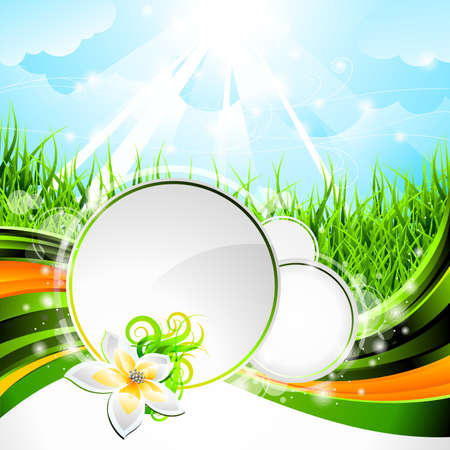 grass line: background design on a spring and nature theme with flower